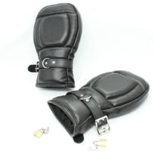 Soft Padded Black PU Leather Gloves For Bondage Practice