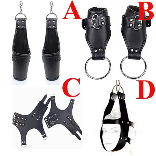 BDSM Bondage Restraints Leather Hand Suspension Cuffs,Slave Roleplay Handcuffs Sex Toys For Couples Adult Sex Games