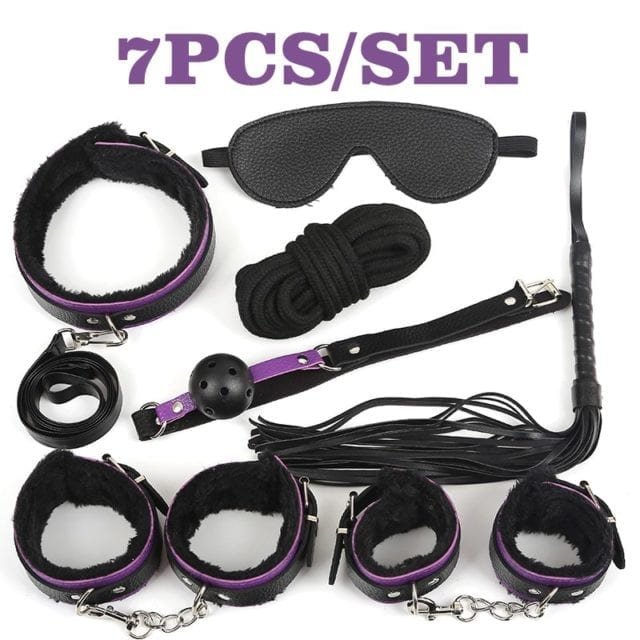 Black Wolf 10 Pcs/set Sexy PU Leather BDSM Sex Bondage Set Hand Cuffs Footcuff Whip Rope Blindfold Erotic Sex Toys For