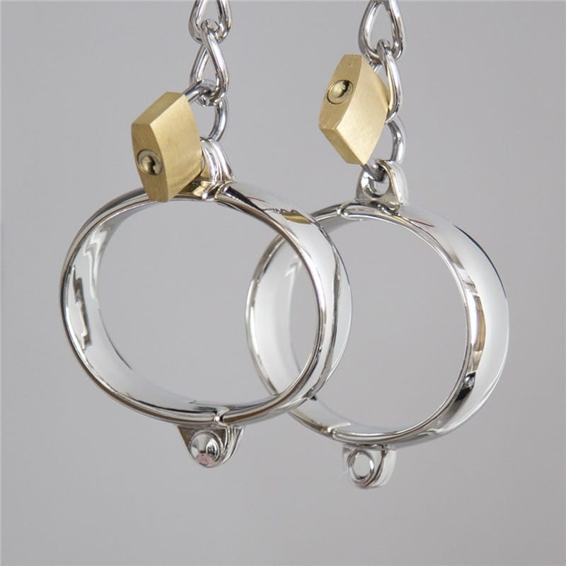 Metal Handcuffs for Sex Bondage Stainless Steel Ankle Cuffs Bracelet with Lock Sex Products BDSM Slave Restraint Sex Accessories