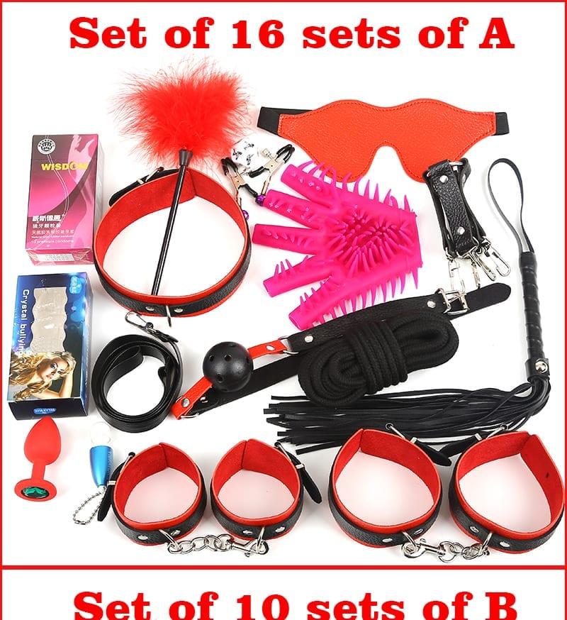 Black Wolf 16PCS/Set New Leather bondage Set Restraints Adult Games Sex Toys for Couples Woman Slave Game SM Sexy Erotic Toys