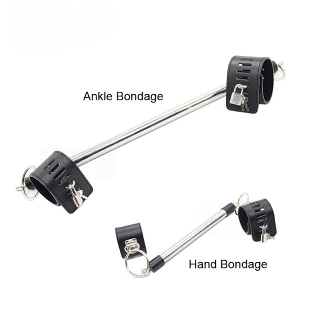 Erotic Stainless Steel Unisex Hand Ankle Spreader Bar Bondage Set Sex Toys Slave Game Wrist Ankle Bondage Restraints Device