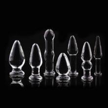 1Pc Glass Anal Butt Plugs Crystal Dildos Beads Ball Erotic Stimulator Fake Penis Female Masturbate Sex Toys for Couples