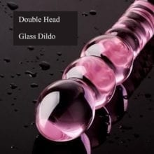 Double End Pink Glass Dildos Crystal Penis Women's Glass Sex Toys G-spot Stimulator Erotic Products Female Masturbation Dong