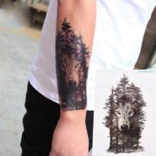 1Pc 21*15cm Waterproof Temporary Tattoo Sticker wolf forest tatto stickers flash tatoo fake tattoos for women men