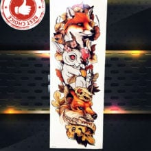 Sexy Wolf Full Arm Temporary Tattoo Stickers For Men