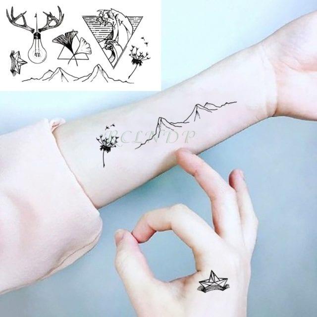 Waterproof Temporary Tattoo sticker on ear finger music note bird stars line streak henna tatto flash tatoo fake for women 24