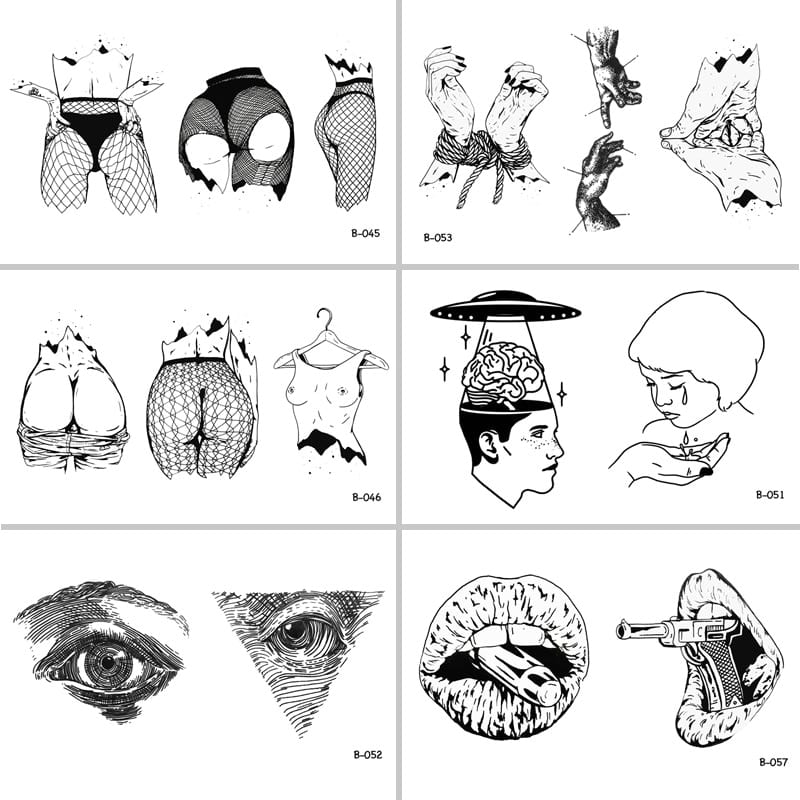 Sexy Woman Body Mouth Gun Eyes Waterproof Temporary Tattoo Stickers for Adults Body Art  Fake Tatoo for Women Tattoos