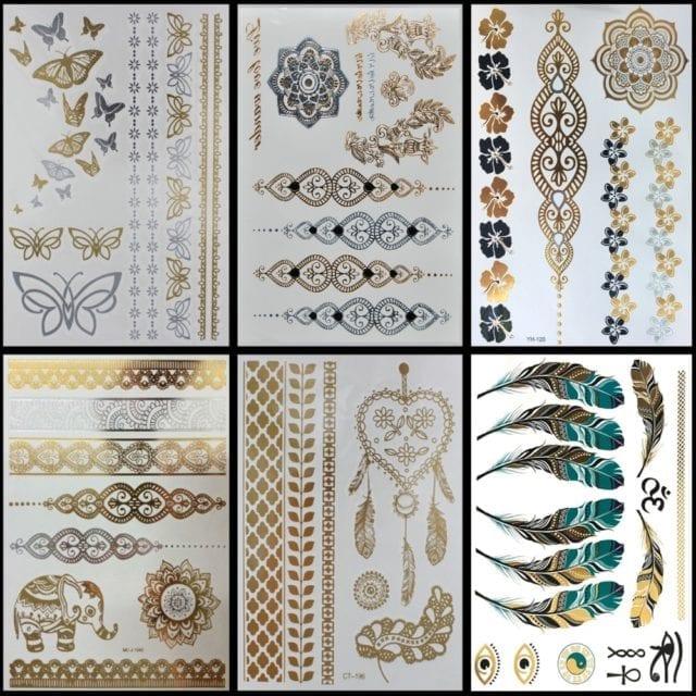 6 PCS/ lot Hot Flash Metallic Waterproof Temporary Tattoo Gold Silver Tatoo Women Henna Flower Taty Design Tattoo Sticker