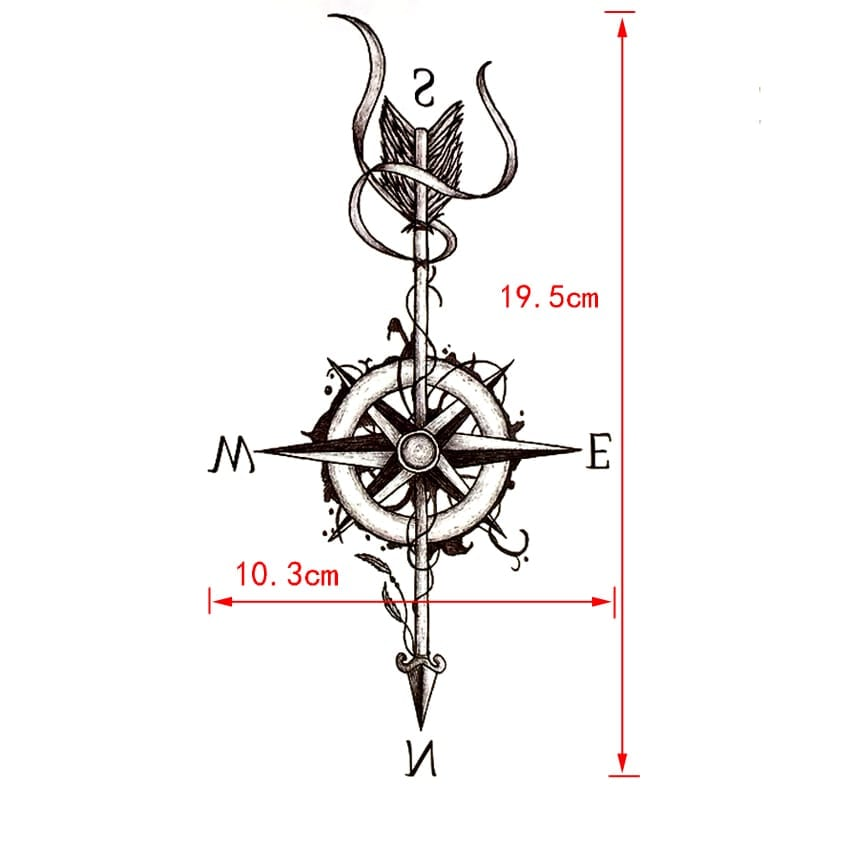 Compass Arrow Waterproof Temporary Tattoo Sticker Harajuku Arrow Tatouage temporaire Tattoo Body Art Henna Tatoo Stickers
