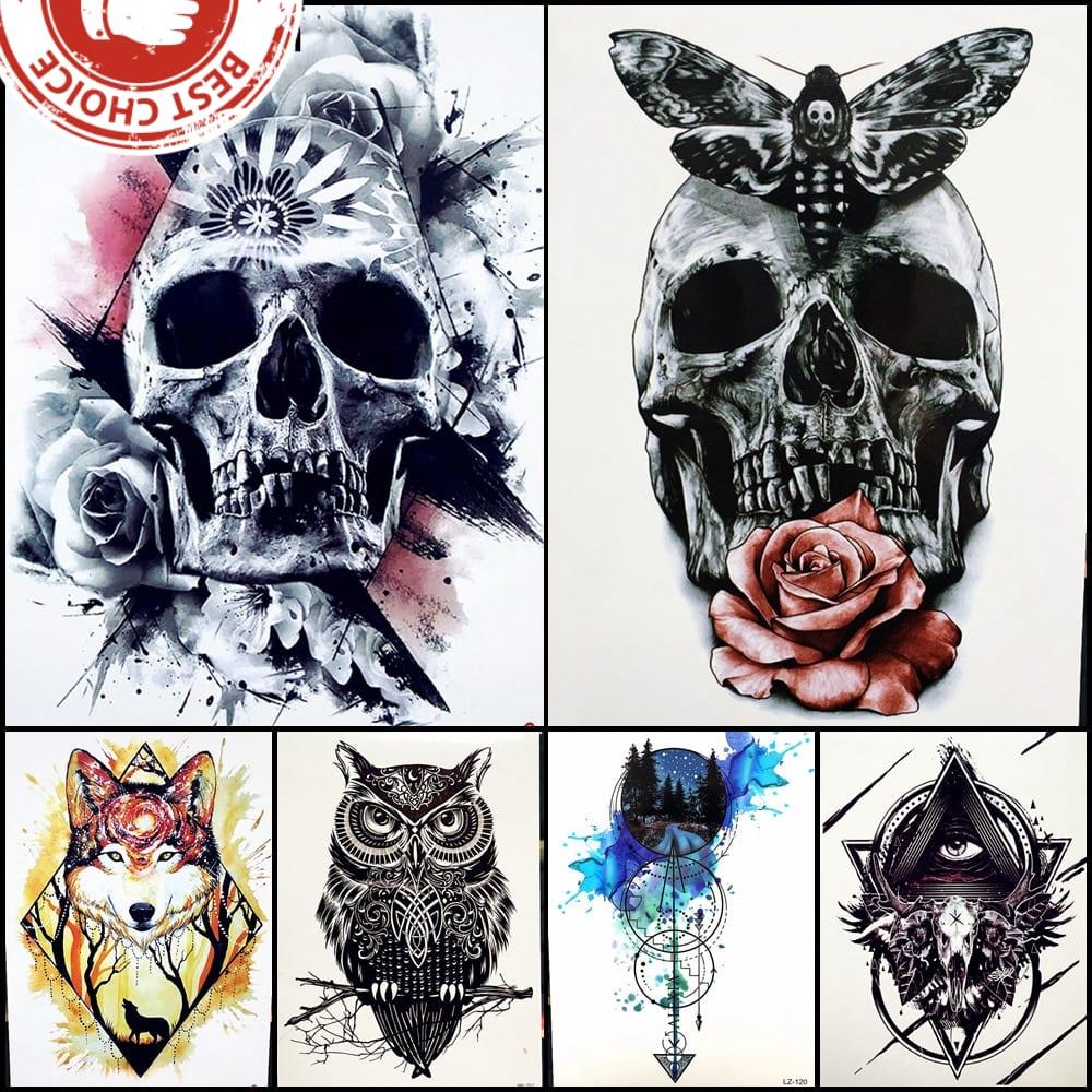Fashion Henna Waterproof Temporary Tattoo For Men Lower Arm Body ART Fake Tattoo Stickers 21x15CM Skull Clock Women Flash Tatoo