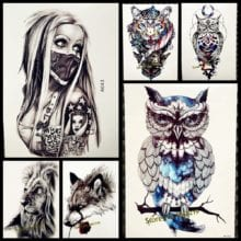 1PC Snowy Owl Full Arm Tattoo Sticker