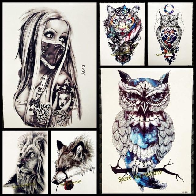 1PC Snowy Owl Hedwig Design Large Arm Tattoo Sleeve Flash Temporary Tattoo Sticker 21x15cm Waterproof Henna Tatoo Women Body Art