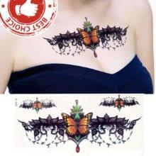 Sexy Pendants Red Flower Flash Tattoo Sticker For Women