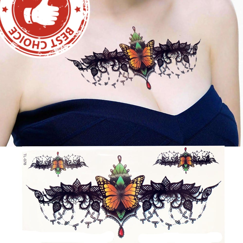 Fashion Sexy Pendants Red Flower Flash Tattoo Sticker Women Chest Bracelet Waterproof Tatoo Makeup Temporary Tattoo Under Breast