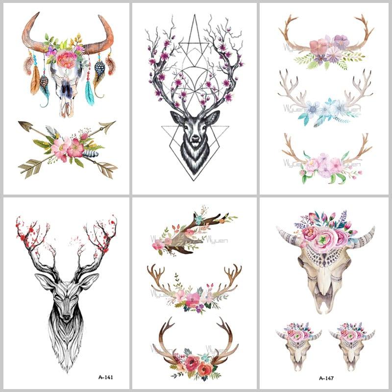 Wyuen Hot Designs Deer Temporary Tattoo For Women Tattoo Body Art 9.8X6cm Waterproof Hand Fake Tatoo Sticker Elk Animal A-073