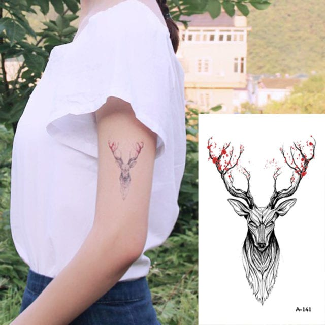 Wyuen Hot Designs Deer Temporary Tattoo For Women Tattoo Body Art 9.8X6cm Waterproof Hand Fake Tatoo Sticker Elk Animal A-073