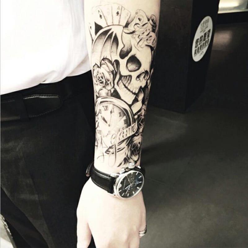 Half Arm Body Temporary Tattoo Sticker Skull Waterproof Long Lasting Water Transfer Semi Permanent Makeup Tatto Tatoo Stickers