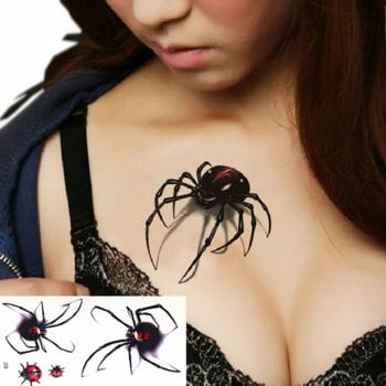 Womens Chest Tattoos | Spider Temporary Tattoos