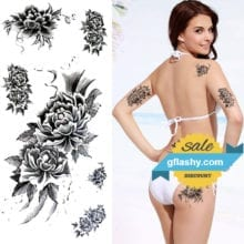 Waterproof Temporary Tattoo Sticker brown sexy henna peony rose flower women's body art tatto flash tatoo fake tattoos for girl