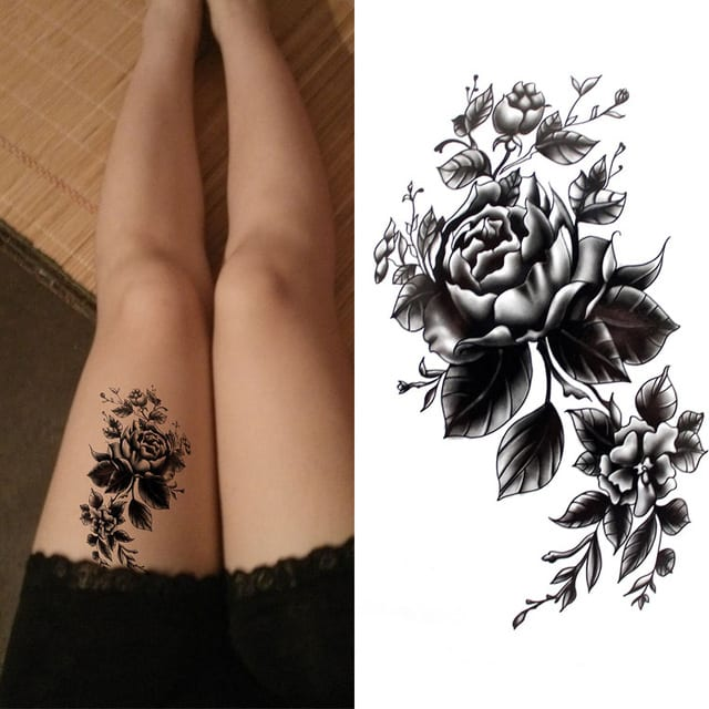 Waterproof Temporary Tattoo Sticker brown sexy henna peony rose flower women's body art tatto flash tatoo fake tattoos for girl