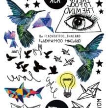 Gradient Colorful Birds Eye Shark Glitter Tattoo Sticker