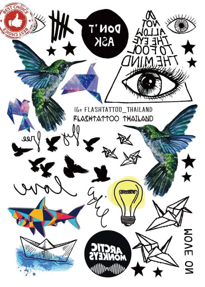 Rocooart A6080-209 Black tatuagem Taty Body Art Temporary Tattoo Sticker Gradient Colorful Birds Eye Shark Glitter Tatoo Sticker