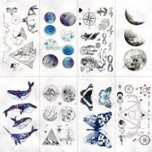 Unisex Whale Planet Sea Animals Temporary Tattoos