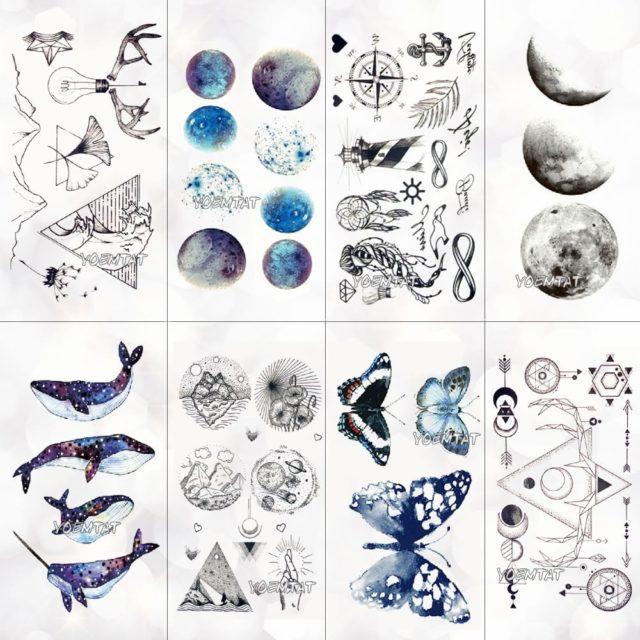 Whale Planet Sea Animals Temporary Tattoos Waterproof Women Fake Body Art Arm Tattoo Sticker Hand Tatoo