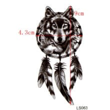 Black Wolf Waterproof Temporary Tattoos For Men