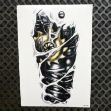 Death Skull Temporary Tattoo For Full Arm