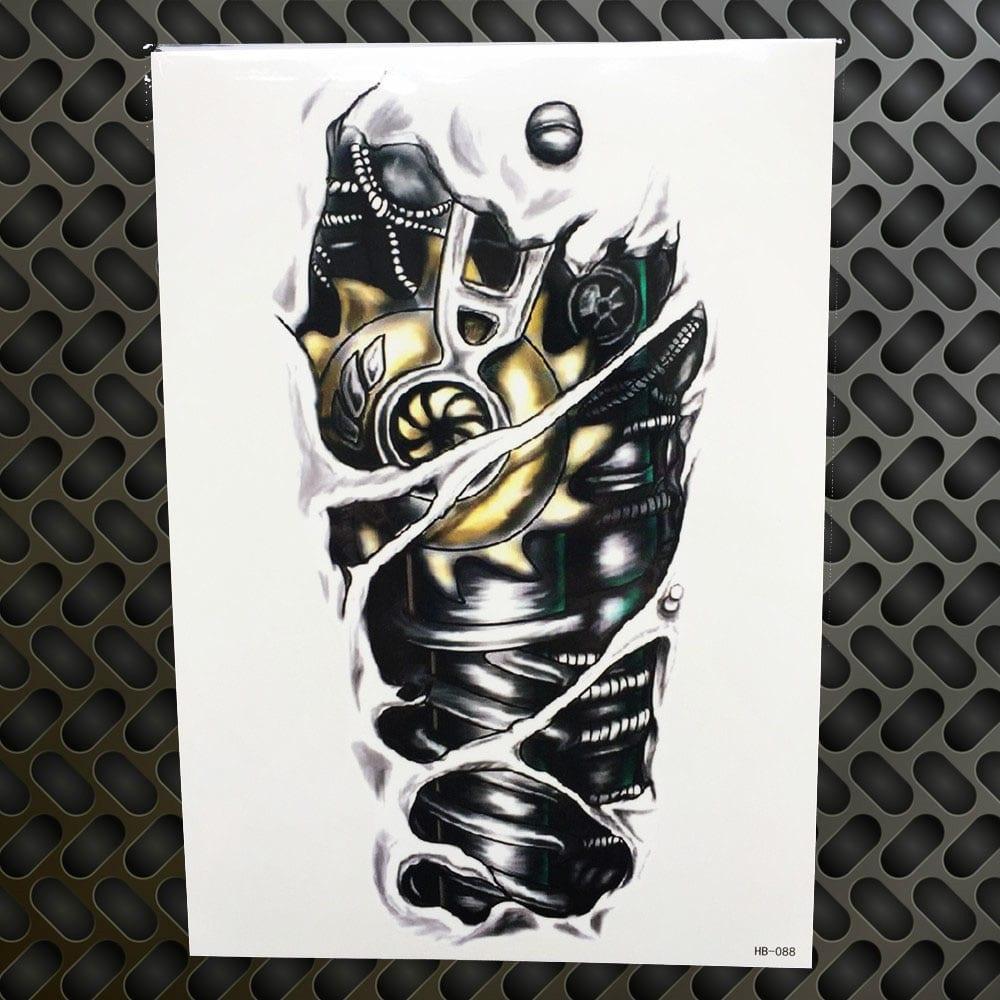 Men Waterproof Tattoo Sticker Fashion Death Skull Temporary Tattoo Body Arm Leg 21x15CM Women Fake Flash Tatoo Sticker Sleeves