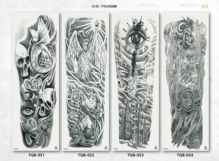 Full Flower Arm Tattoo Sticker 40models Fish Peacock Lotus Temporary Body paint Water Transfer fake Tatoo sleeve