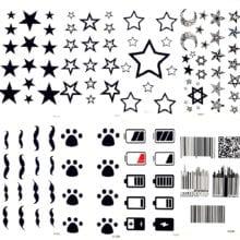 Black Stars Sky Moon Paw Waterproof Kids Tattoo Women Body Finger Arm Art Temporary Tatoo Men Hands Paste Ear Tattoo Stickers