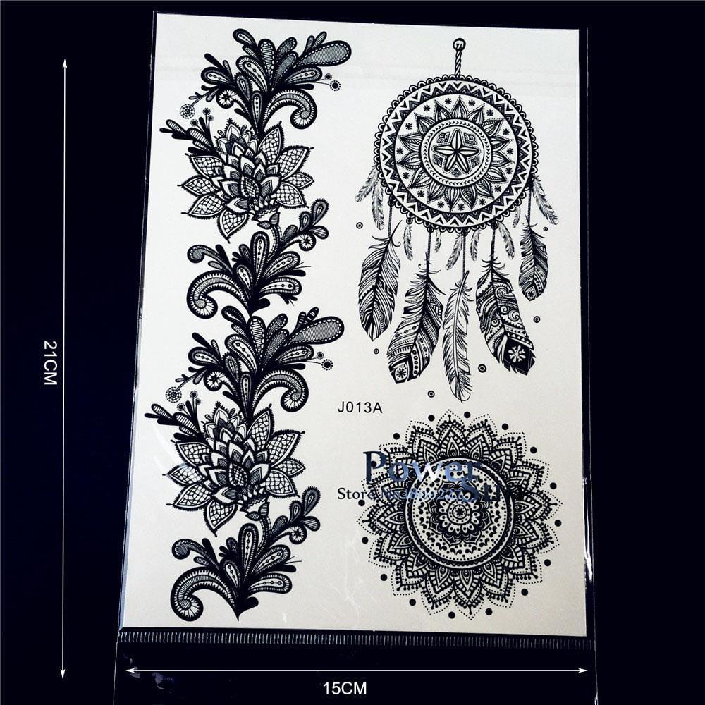 25 Style Hot Waterproof Black Henna Tattoo Fake Mandala Flower Arm Hand Tatoo Owl Decals Women Body Art Temporary Tattoo Sticker