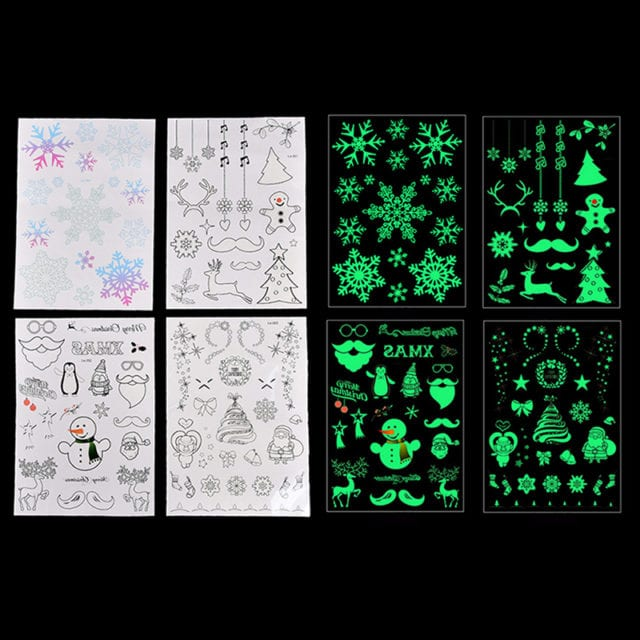 Water Transfer Tattoo Stickers Luminous Glow In The Dark Glitter Christmas Tatoo Flash Fluorescent Temporary Tattoos Stickers