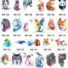 1 Piece Watercolor Drawing Waterproof Tattoo KM-045 Simulation Blue Horse Butterfly Peacock Temporary Tatoo Sticker for Body Art
