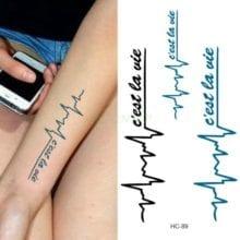 Waterproof Temporary Tattoo Sticker body art letters Love heartbeat wave tatto flash tatoo fake tattoos for girl women 4