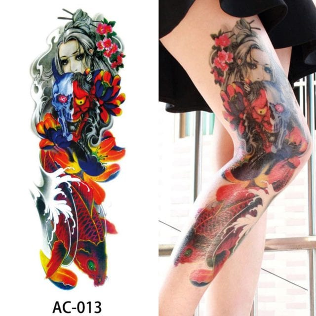 1Pc Sexy Waterproof Temporary Tattoo Sticker Full Arm Sleeve Large Skull Tatoo Stickers Fake Fattoos for Men Women #272596