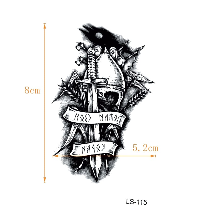 Immortal Knight Waterproof Temporary Tattoos Men Warrior Tatouage Temporaire Femme Tatoo Temporary Stickers
