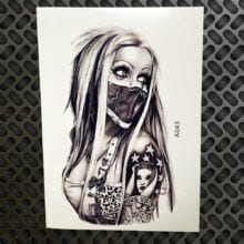 Sexy Girl With Mask Temporary Tattoo Sticker