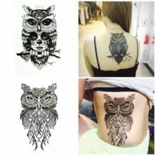 Wise Owl Two Temporary Tattoos For Girls
