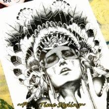 Indian Warrior Temporary Tattoo Sticker