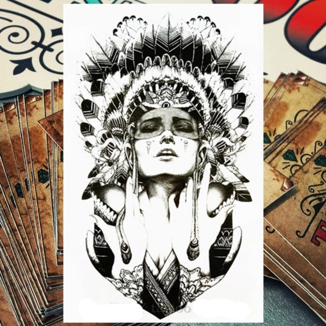 Nu-TATY Indian Warrior Temporary Tattoo Body Art Flash Tattoo Stickers 12*20cm Waterproof Fake Tatoo Styling Decor Sticker