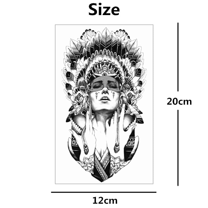 Nu-TATY Indian Warrior Temporary Tattoo Body Art Flash Tattoo Stickers 12*20cm Waterproof Fake Tatoo Styling Decor Sticker