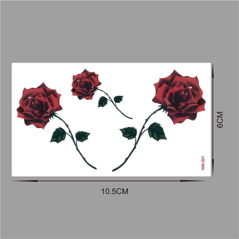 Red color Rose blossom flower brand new fashion waterproof temporary tattoo sticker tatoo tatto men women flash fake henna WM201