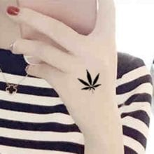 7 Sizes Black Leaf Grass Waterproof Temporary Tattoos Stickers