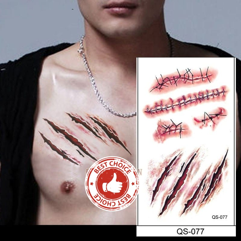 Halloween zombie scars tattoos waterproof 3D bite mark tattoo sticker With Fake Scab Blood Special Costume small neck fake tatoo