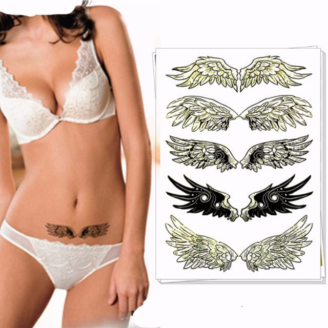 Nu-TATY Sexy black angel wings Temporary Tattoo Body Art Flash Tattoo Stickers 17*10cm Waterproof Tatoo Car Styling Sticker