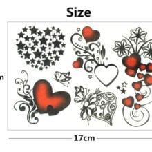 Nu-TATY Sexy hearts stars Temporary Tattoo Body Art Flash Tattoo Stickers 17*10cm Waterproof Fake Tatoo Styling Wall Sticker